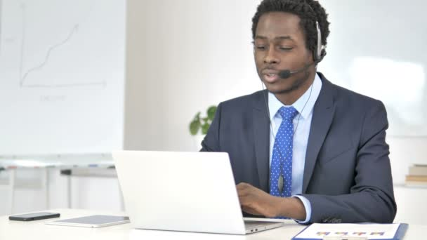 Call Center, African Businessman Talking with Customer