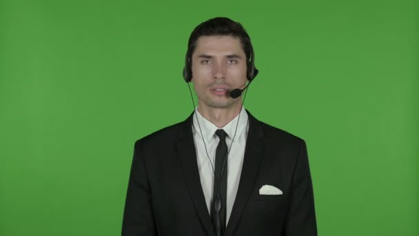 Technical Businessman Talking on Headset, Chroma Key