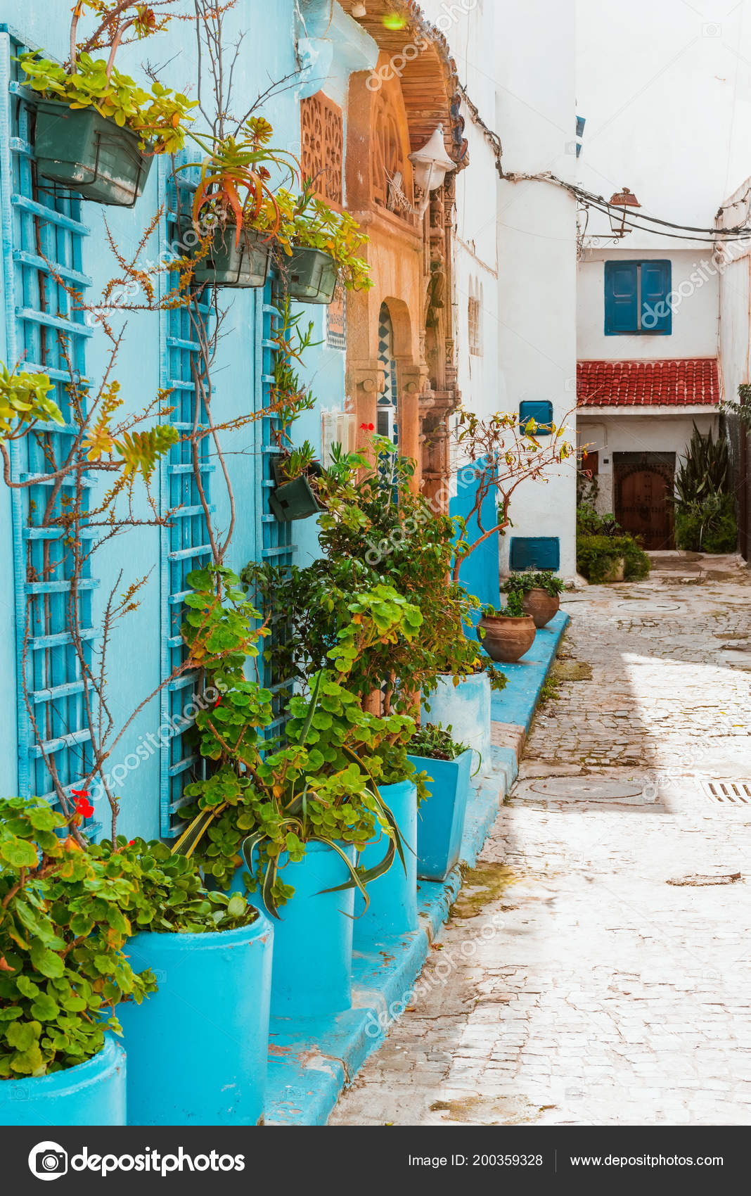 Small Streets In Blue And White In The Kasbah Of Old City Rabat In
