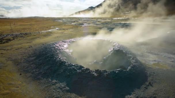 Hverir Myvatn geothermal area with natural steam Iceland