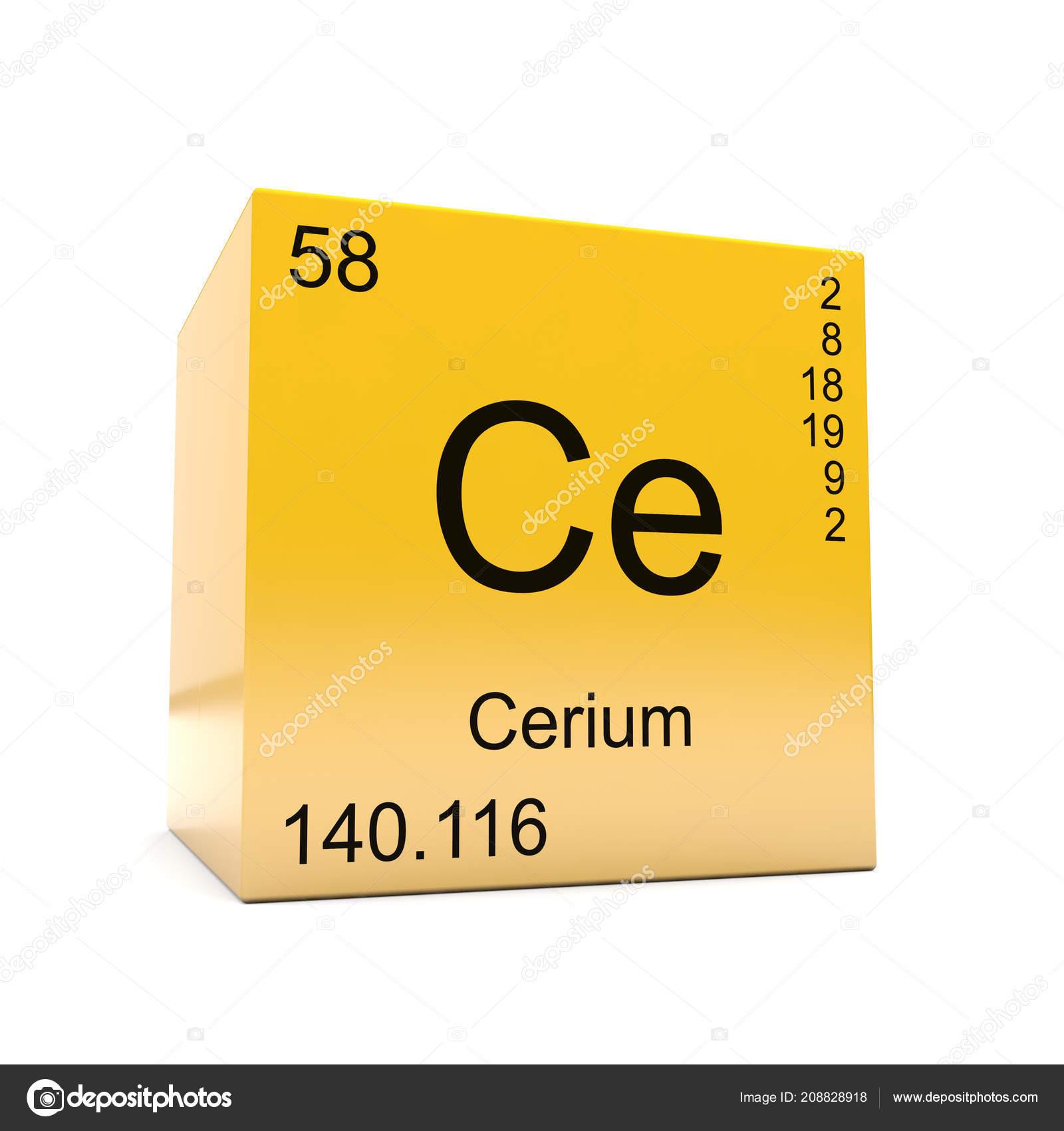 Cerium chemical element symbol periodic table displayed glossy cerium chemical element symbol from the periodic table displayed on glossy yellow cube photo by conceptw urtaz Images