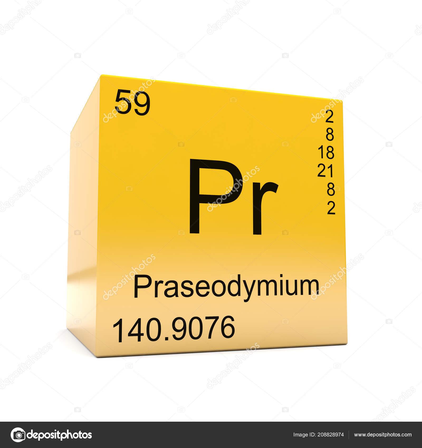 Praseodymium Chemical Element Symbol Periodic Table Displayed Glossy