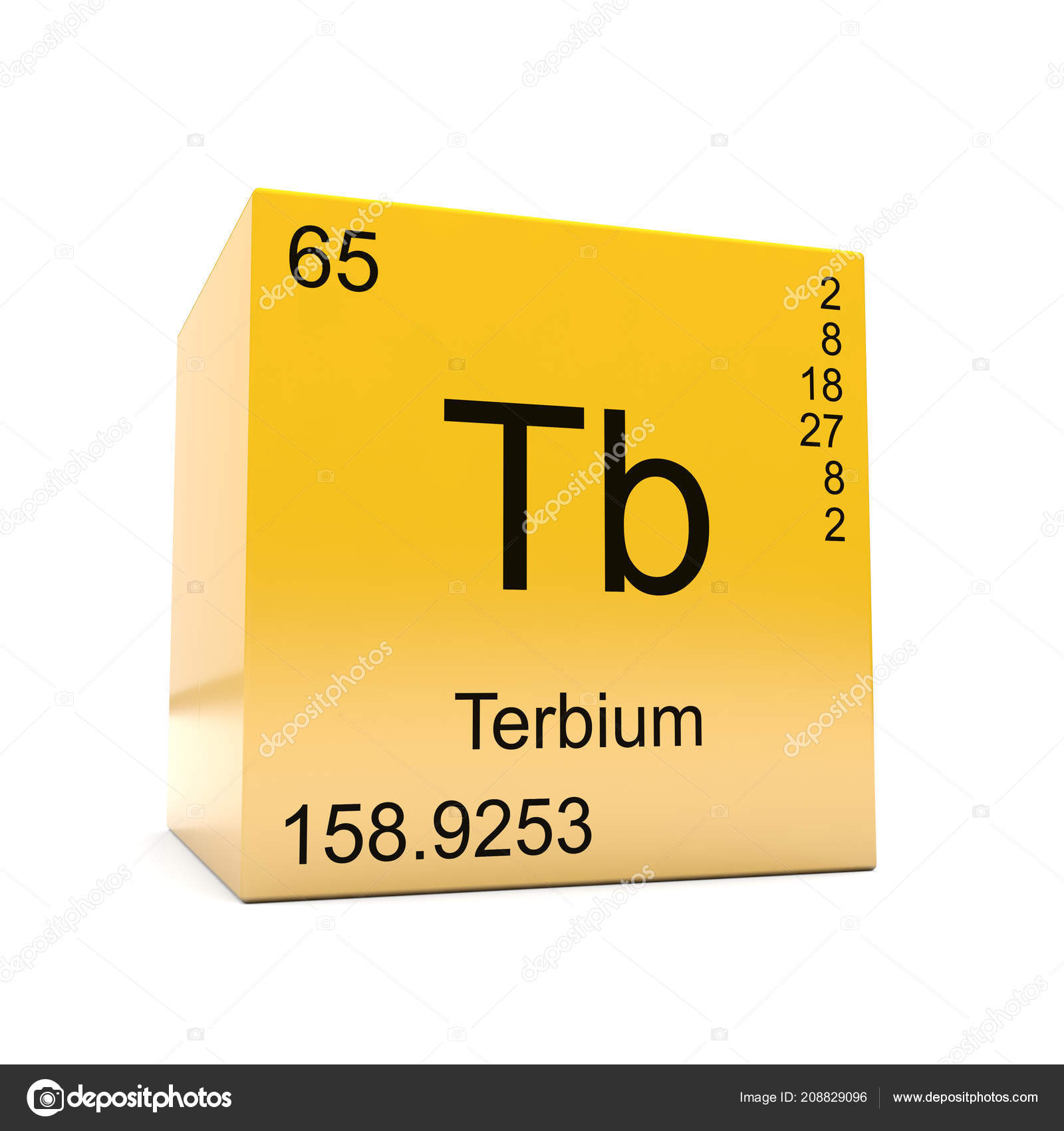 Terbium Chemical Element Symbol Periodic Table Displayed Glossy