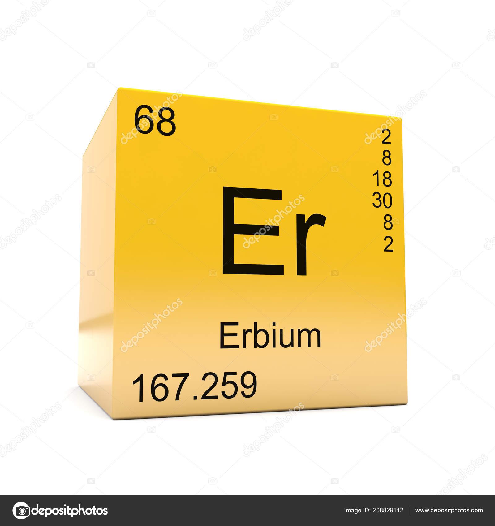Erbium Chemical Element Symbol Periodic Table Displayed Glossy