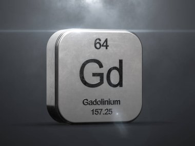 Gadolinium element from the periodic table. Metallic icon 3D rendered with nice lens flare
