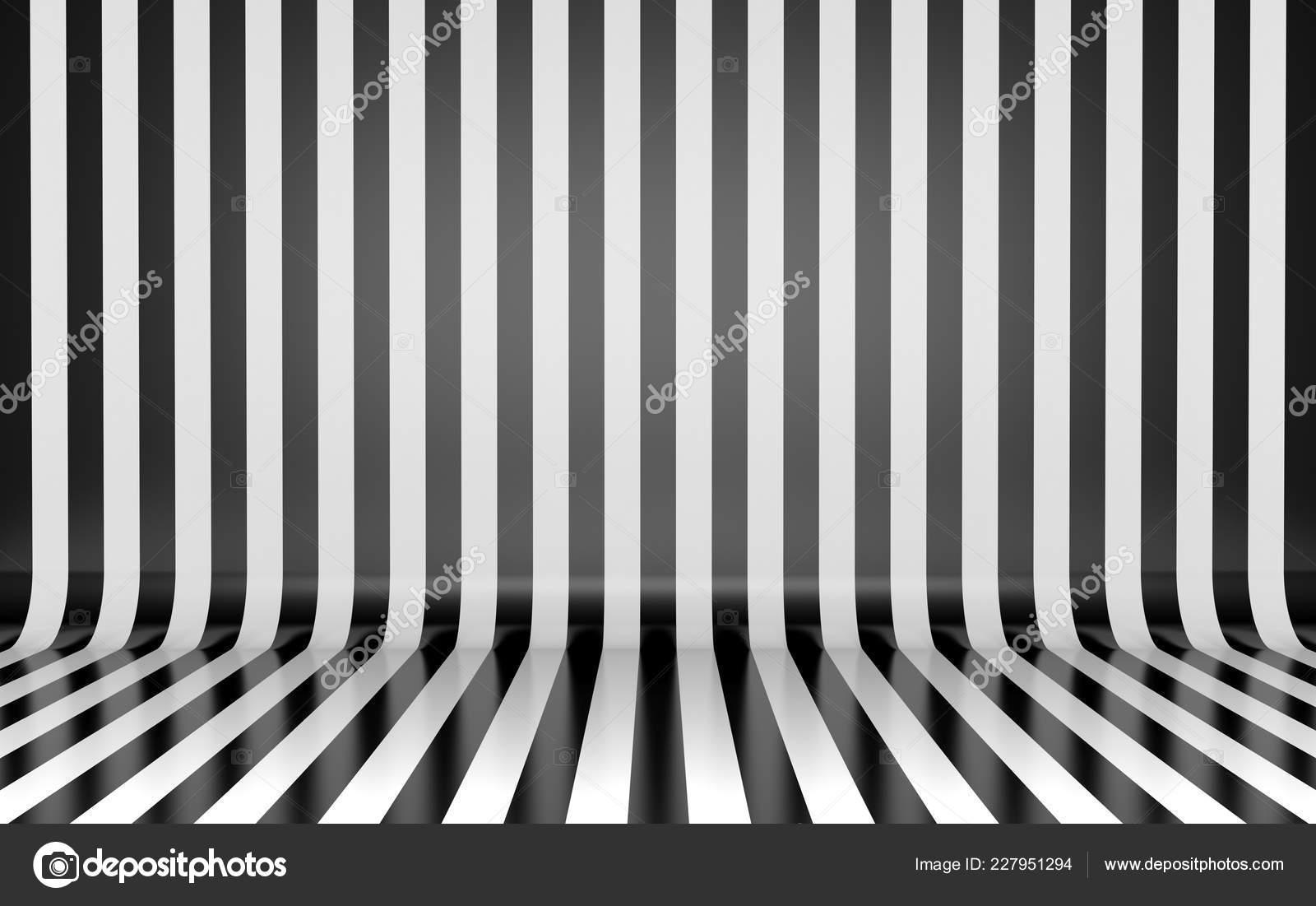 Black White Vertical Lines Wall Floor Studio Background Stock