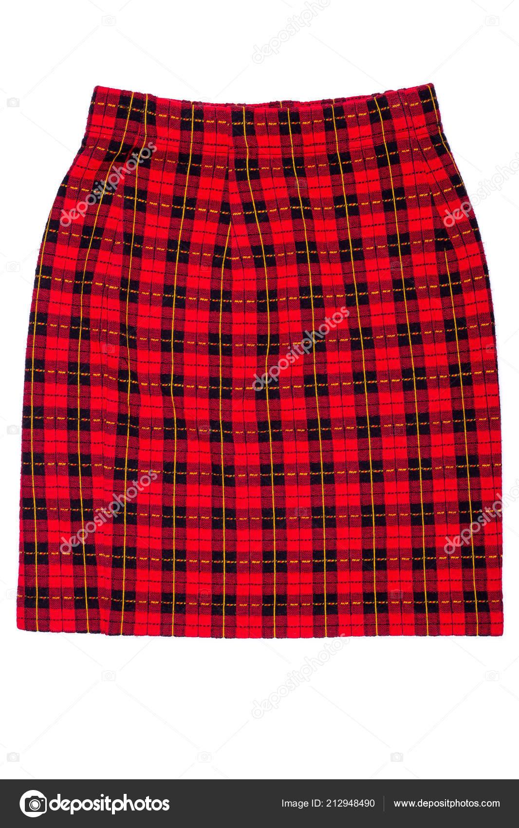 267443e6eeb22e Red Checkered Skirt White Background Isolate Skirt Black Red Cells — Stock  Photo