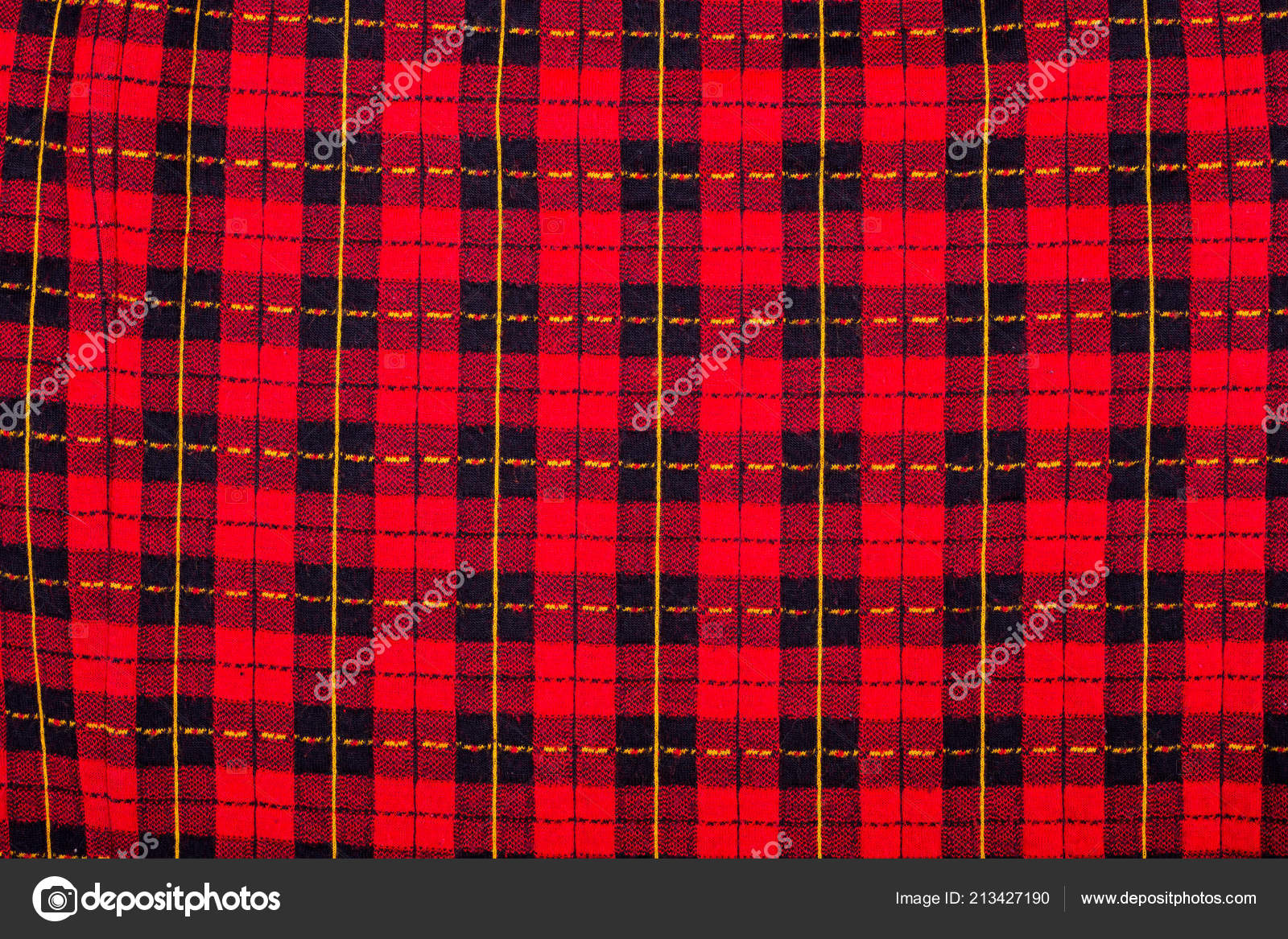 Fabric Black Red Checkered Background Texture Checkered Fabric Close