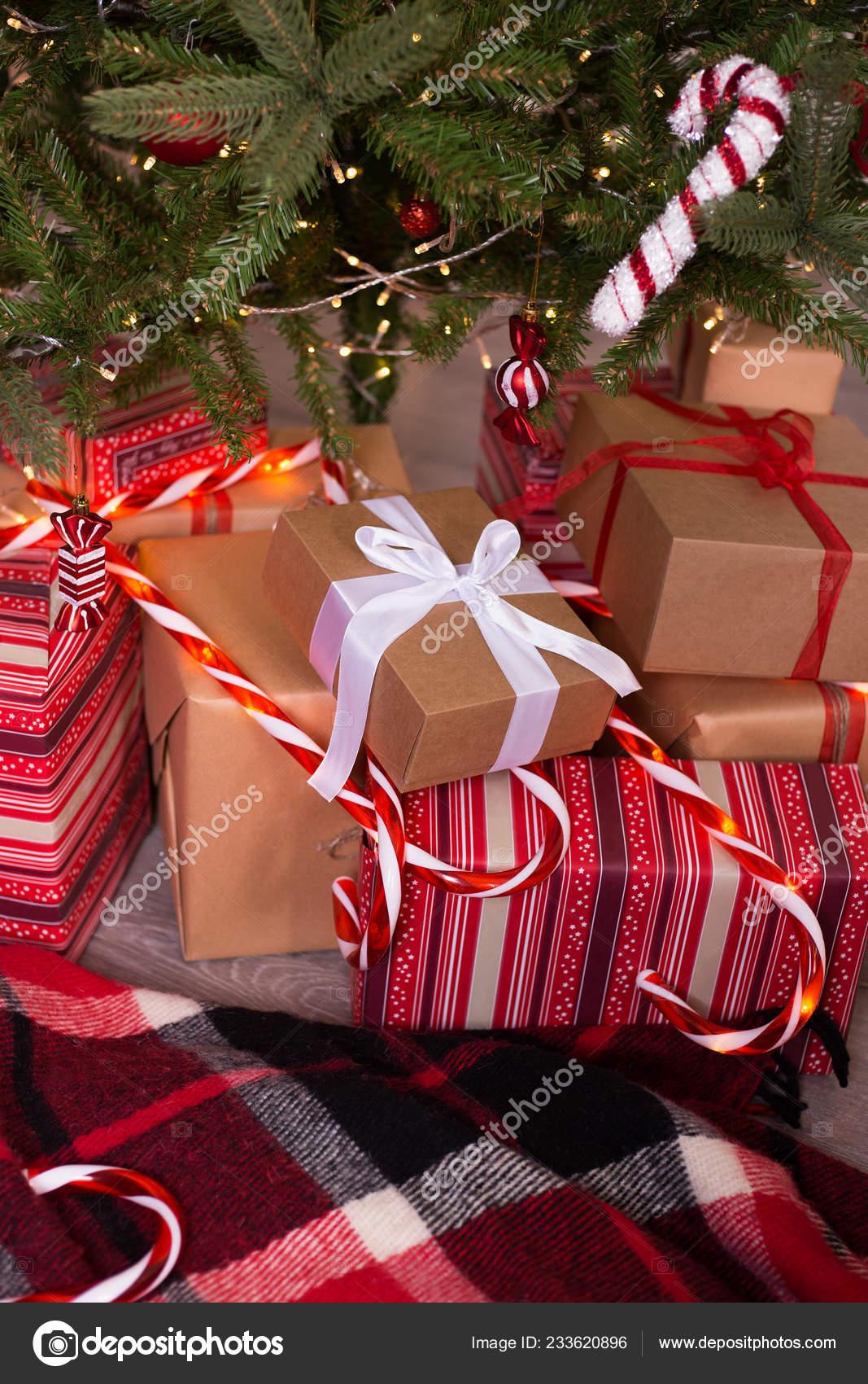 Gifts Christmas Tree Plaid Christmas Tree Gifts Checkered Blanket Stock Photo C Elenaruban Ua Fm 233620896
