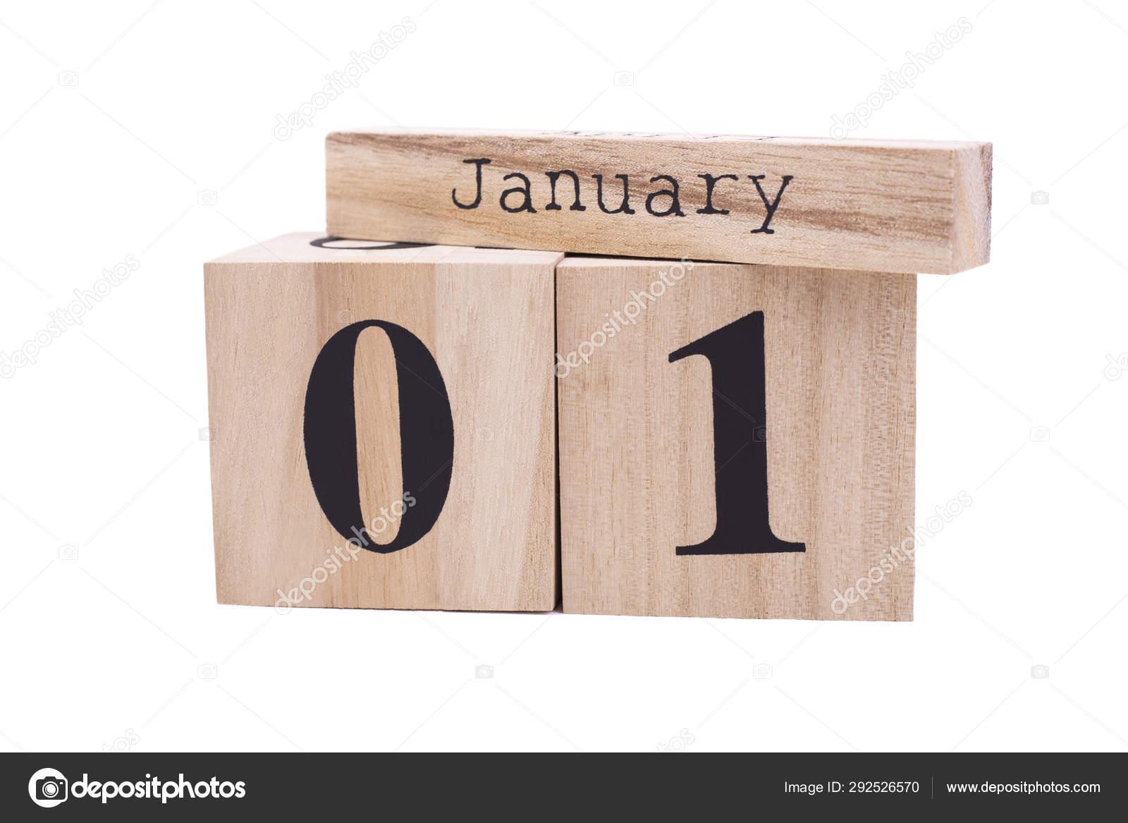 Calendario Ua.Calendario De Madera Enero Primer Aislado Foto De Stock