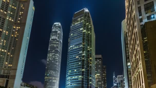Time lapse of busy traffic in Hong Kong at night,International Finance Centre at night,