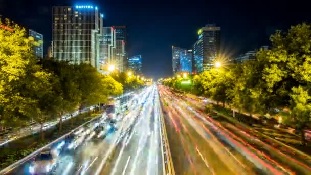 Time lapse of busy freeway traffic at night in beijing citychina