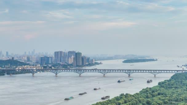 Time lapse of yangtze river skyline in nanjing city,china ,cloudy day,sunset