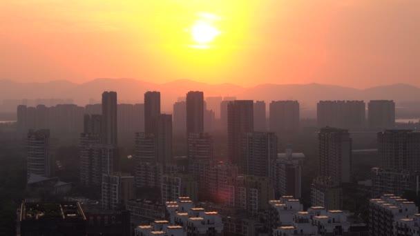 sunset sky in city, timelapse