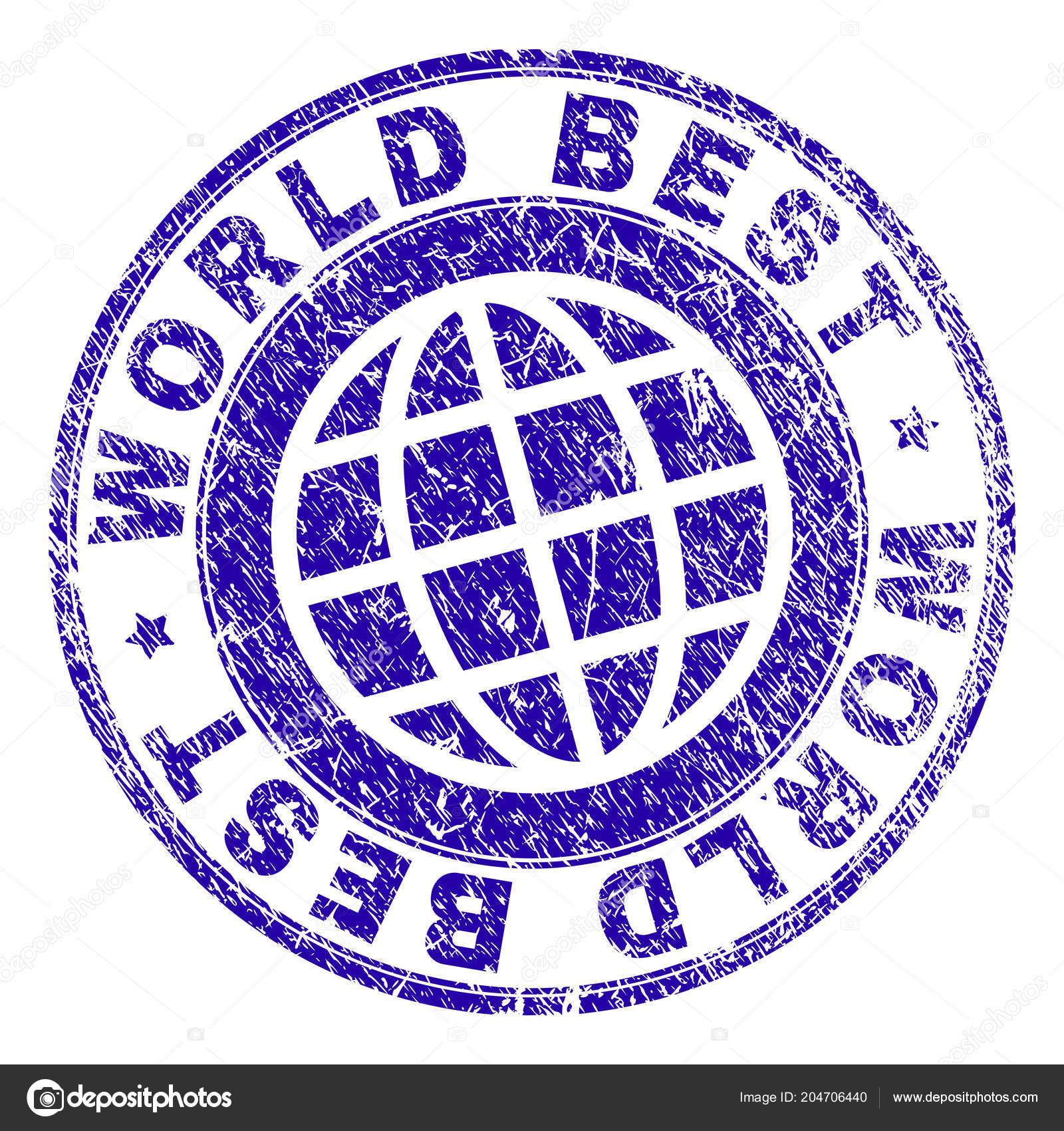 grunge textured world best stamp seal stock vector