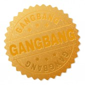 Fotografie Golden GANGBANG Medallion Stamp