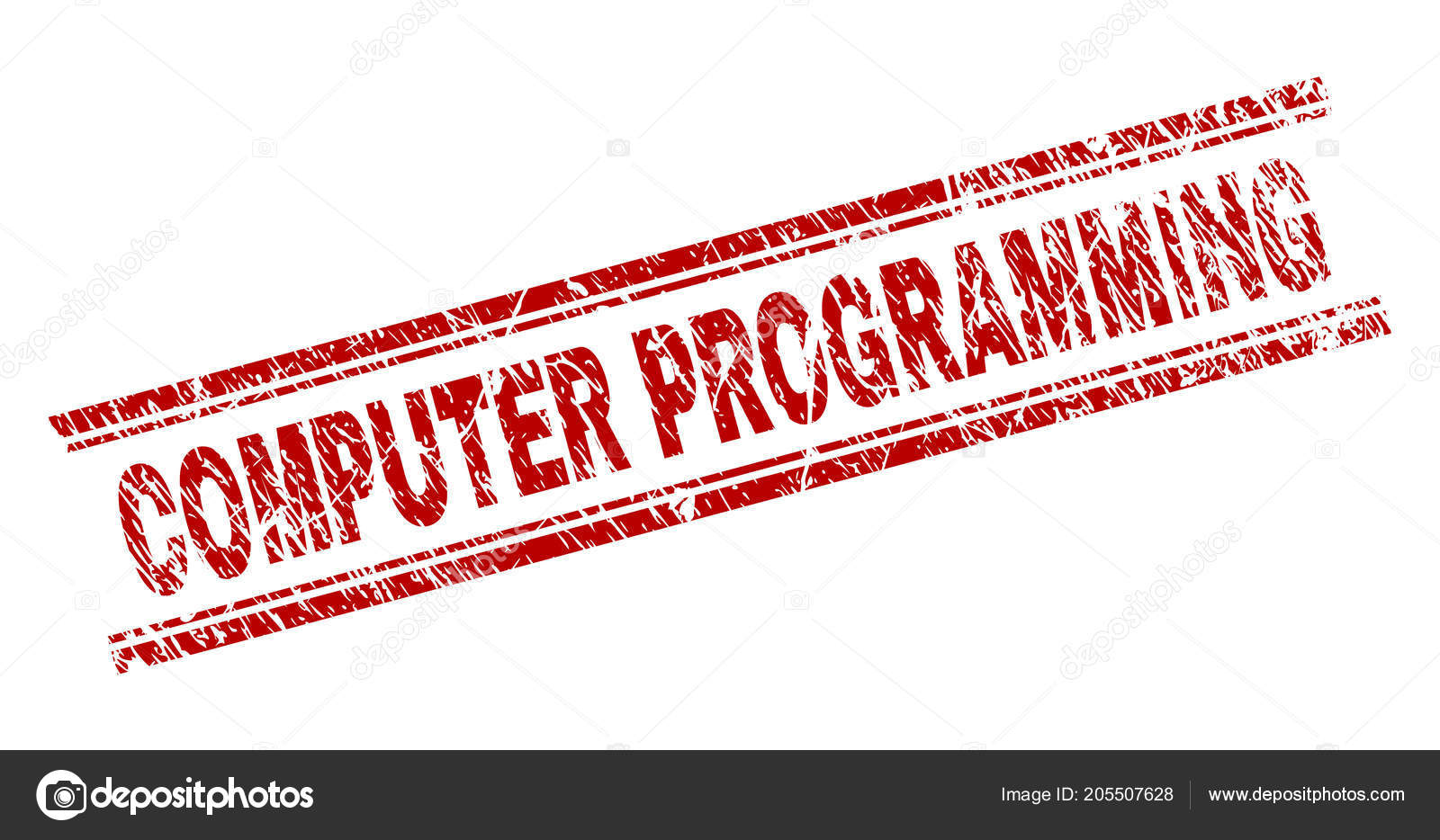 COMPUTER PROGRAMMING Seal Imprint With Grunge Texture Red Vector Rubber Print Of Text