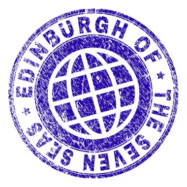 Grunge Textured EDINBURGH OF THE SEVEN SEAS Stamp Seal