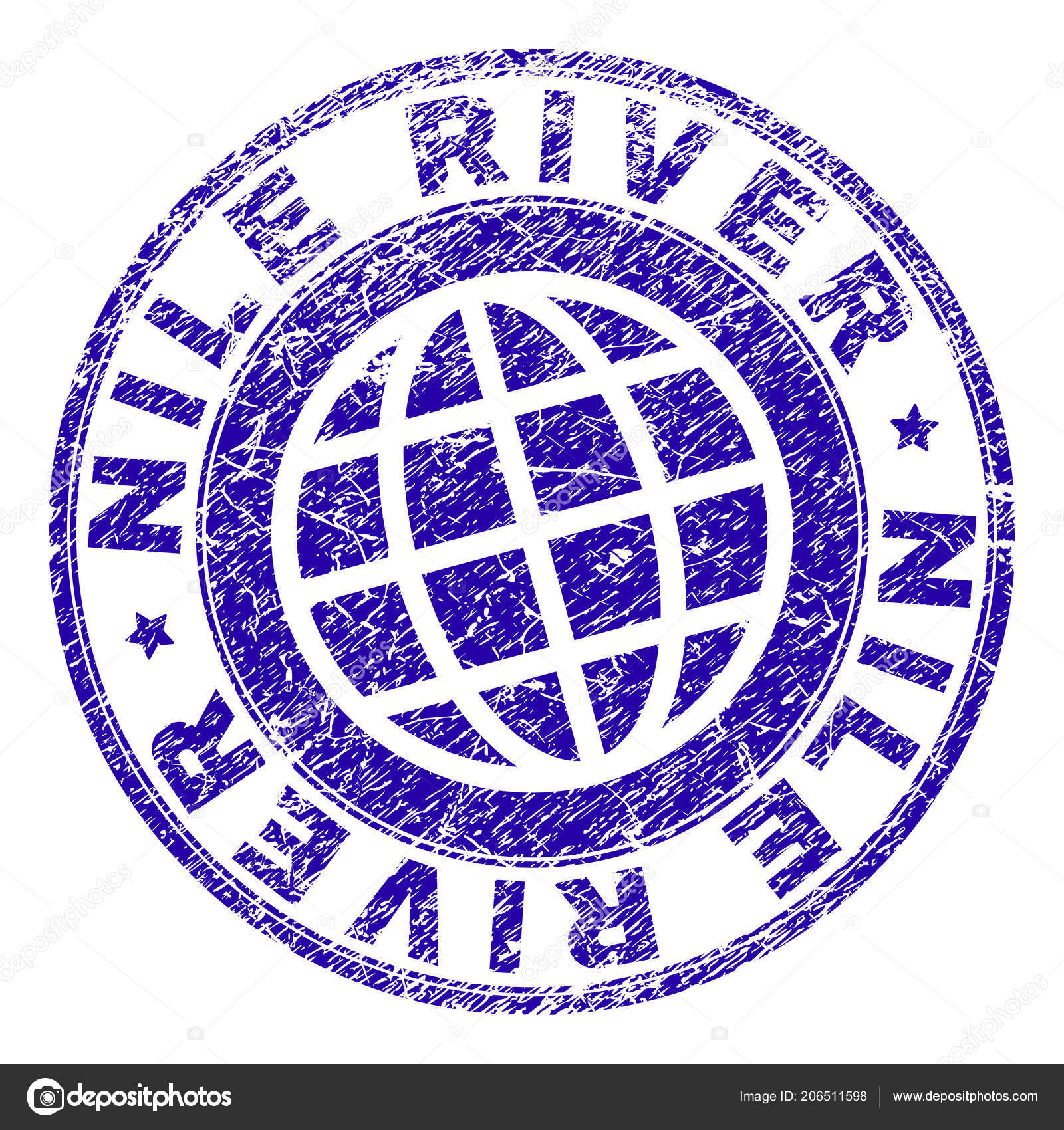 Grunge Textured Nile River Stamp Seal Stock Vector