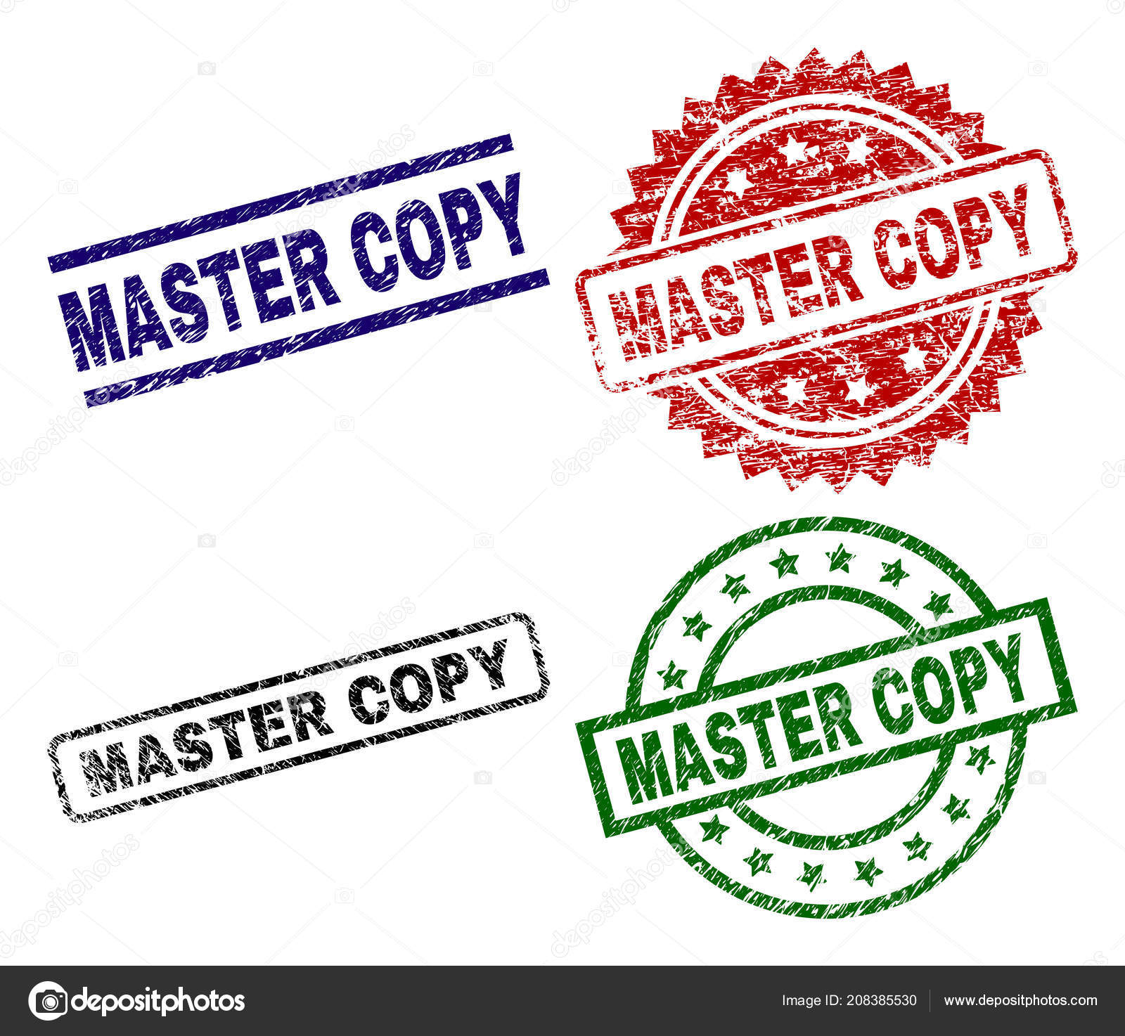 Scratched Textured MASTER COPY Stamp Seals — Stock Vector
