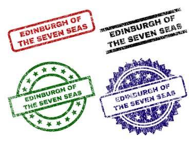 Grunge Textured EDINBURGH OF THE SEVEN SEAS Stamp Seals