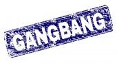 Fotografie Grunge Gangbang gerahmt abgerundetes Rechteck-Stempel