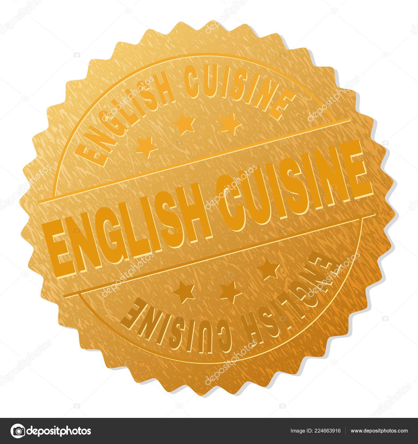 Cucina inglese Gold Medallion Stamp — Vettoriali Stock ...