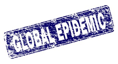 Scratched GLOBAL EPIDEMIC Framed Rounded Rectangle Stamp