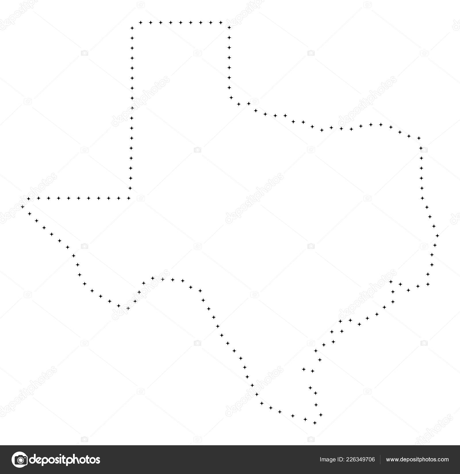 Map Of Texas Quiz.Dotted Stroke Texas State Map Stock Vector
