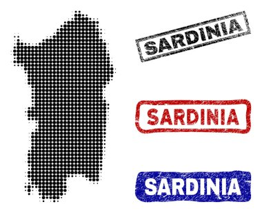 Italian Sardinia Island Map in Halftone Dot Style with Grunge Title Stamps