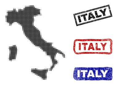 Italy Map in Halftone Dot Style with Grunge Name Stamps