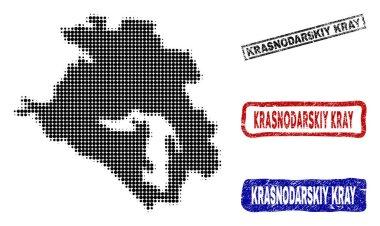 Krasnodarskiy Kray Map in Halftone Dot Style with Grunge Title Stamps