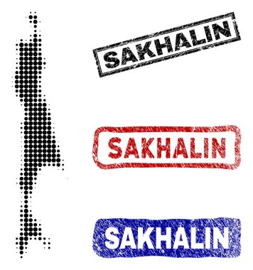 Sakhalin Island Map in Halftone Dot Style with Grunge Caption Stamps