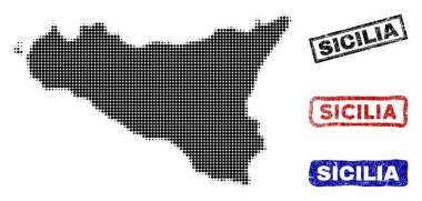 Sicilia Island Map in Halftone Dot Style with Grunge Title Stamps