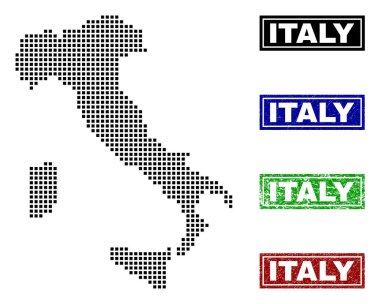 Italy Map in Dot Style with Grunge Name Stamps