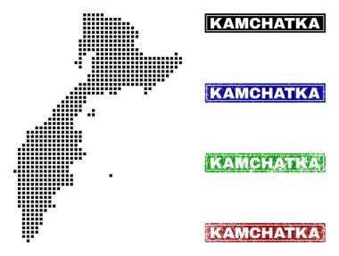 Kamchatka Map in Dot Style with Grunge Caption Stamps