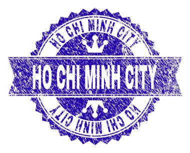 Scratched Textured HO CHI MINH CITY Stamp Seal with Ribbon