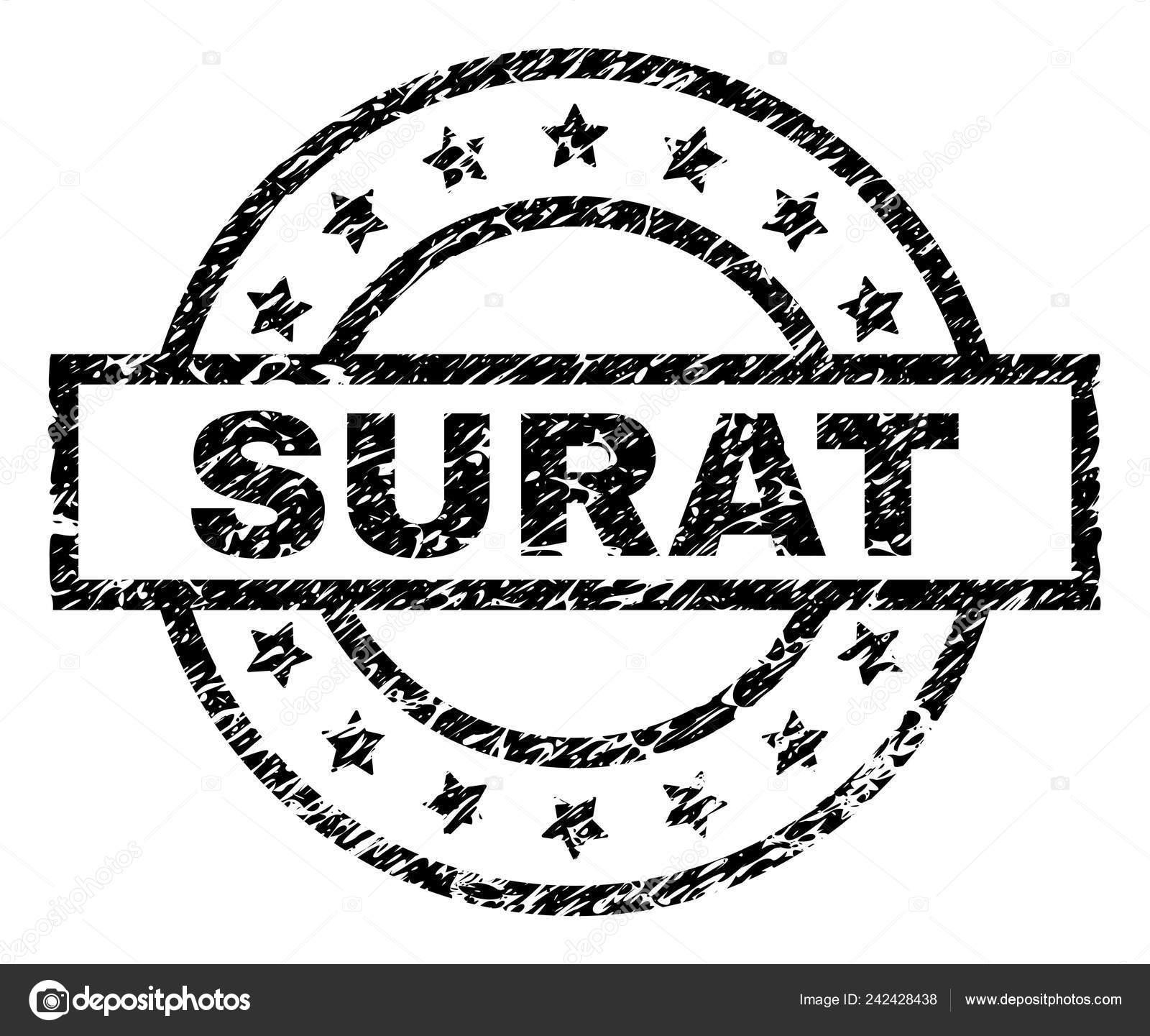 Surat Stamp Seal Watermark Distress Style Designed Rectangle