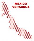 Veracruz állam Térkép - mozaik szerelmes szívek