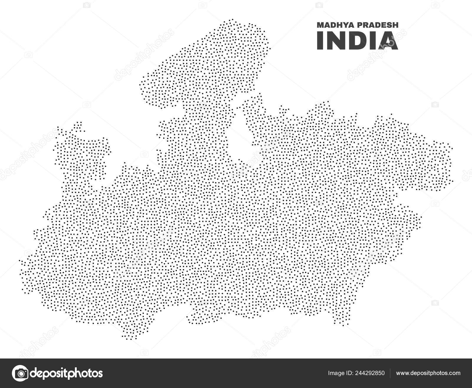 Vector Madhya Pradesh State Map of Dots — Stock Vector ... on jharkhand state map, gujarat state map, orissa state map, bihar state map, haryana state map, chhattisgarh state map, kerala state map, assam state map, tamil nadu state map, telangana state map, bengal state map, maharashtra state map, karnataka state map, punjab state map, uttaranchal state map, andhra state map,