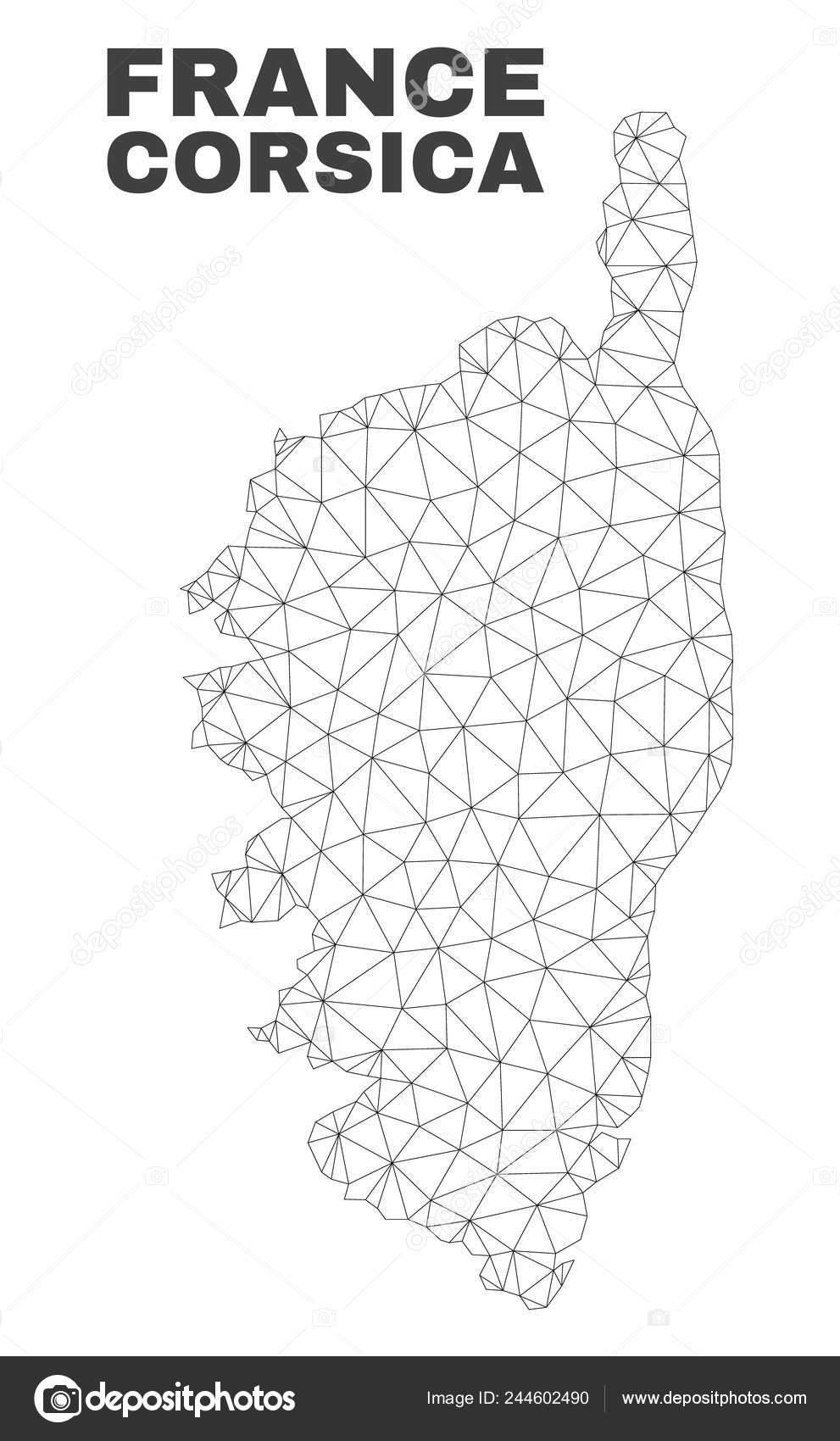 Carte Corse Fond Blanc.Carte De Corse Vecteur Maillage Polygonal Image