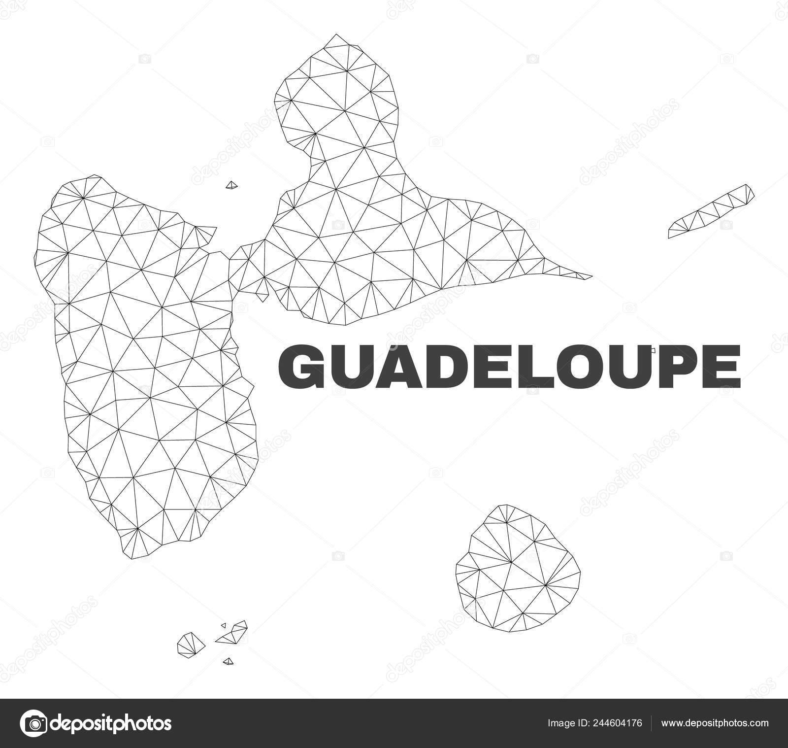 Carte Guadeloupe Noir Et Blanc.Carte De Guadeloupe Pour Le Maillage Polygonal Vector