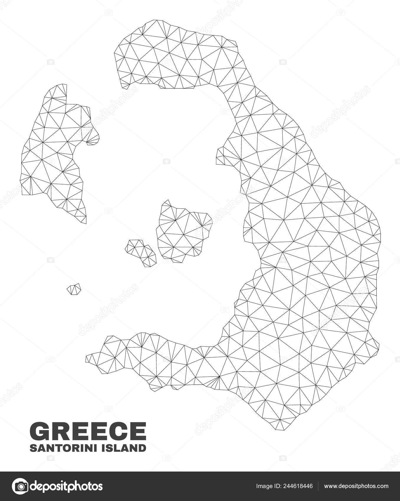 Mapa De Isla De Santorini De Malla Poligonal Del Vector