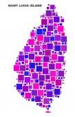Mosaic Saint Lucia Island Map of Square Elements