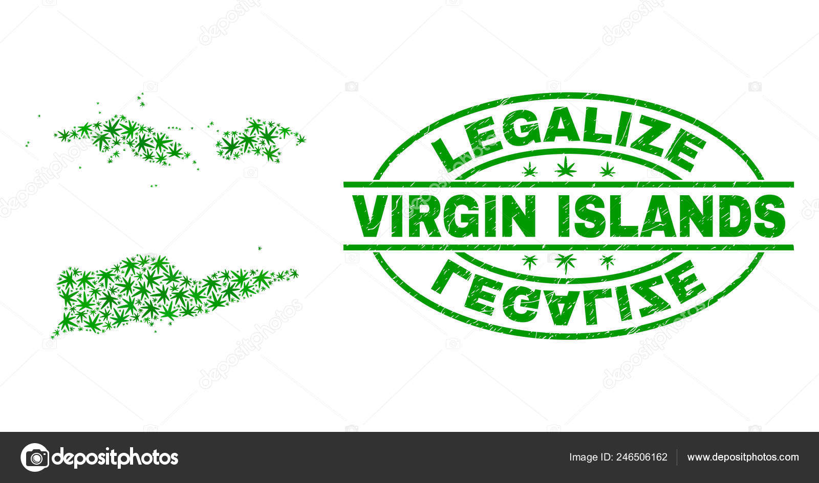 Marijuana Leaves Collage American Virgin Islands Map with Legalize ...