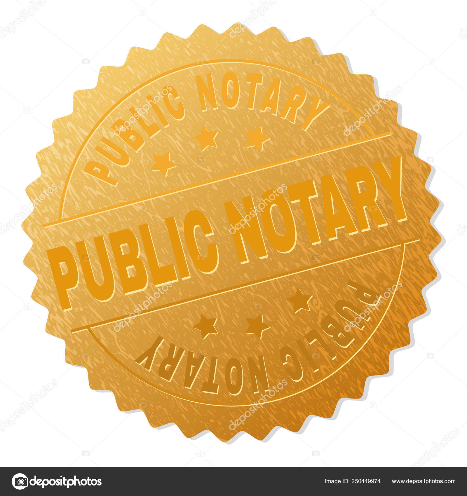 Gold Public Notary Badge Stamp Stock Vector