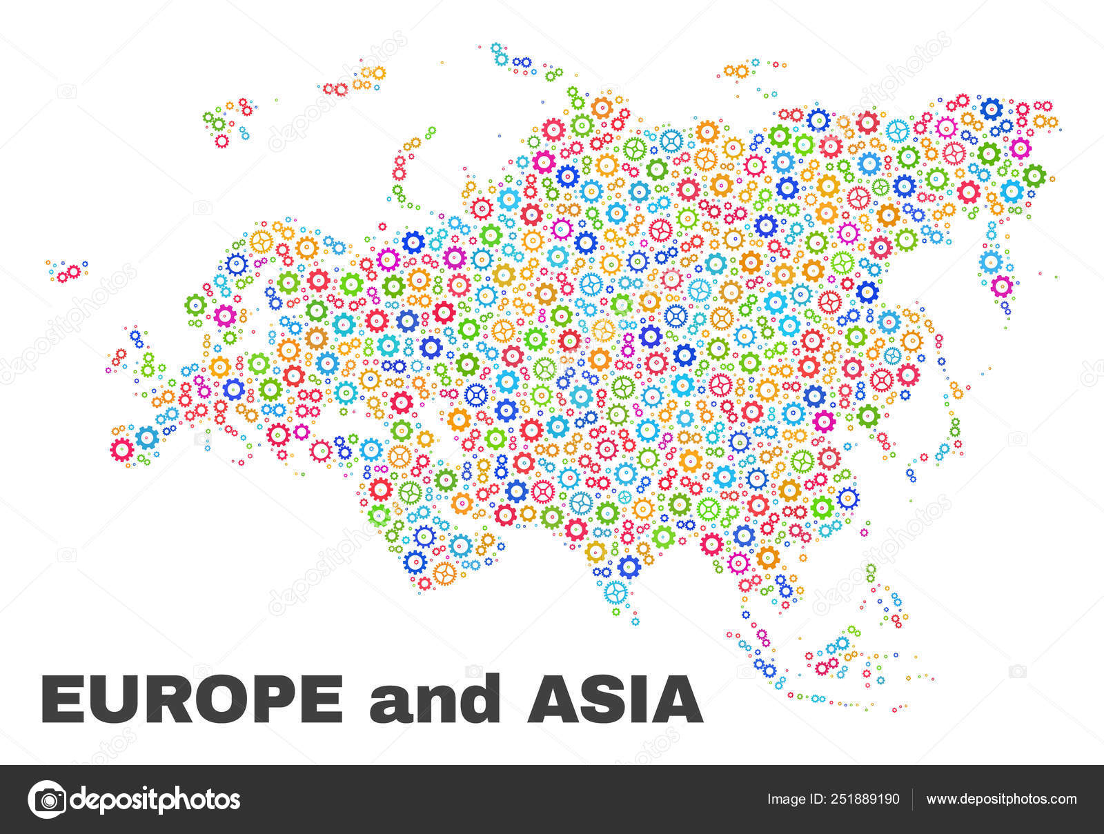 Mosaic Europe and Asia Map of Gear Elements — Stock Vector ...