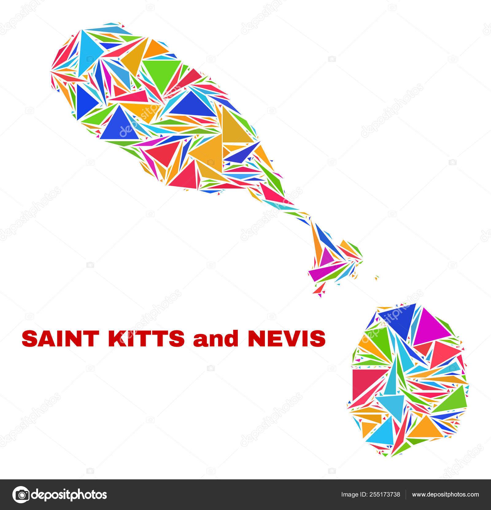 Mapa De San Cristobal Y Nieves Mosaico De Triangulos De Color