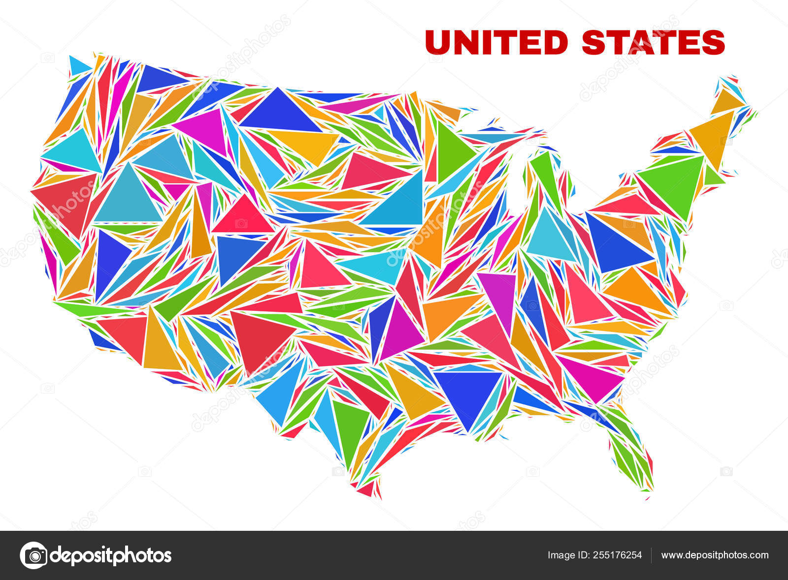 United States Map - Mosaic of Color Triangles — Stock Vector ...