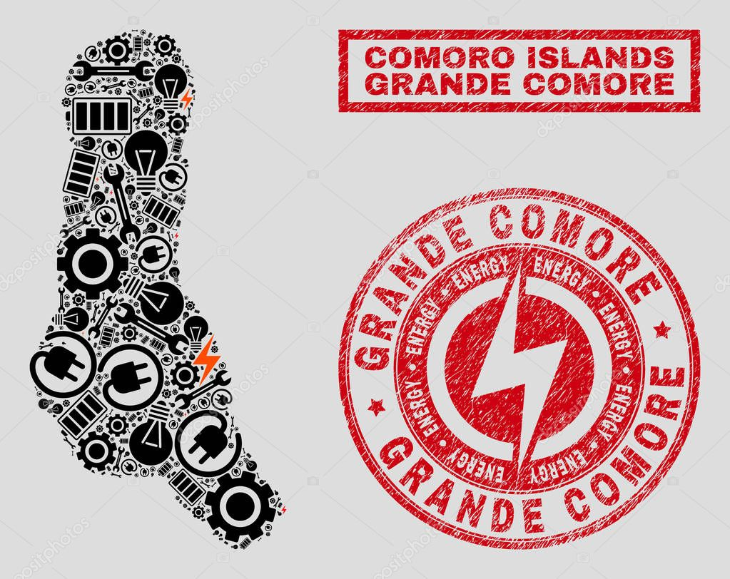 Electrical Mosaic Grande Comore Island Map and Snow and Distress Stamp Seals